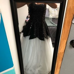 BLACK AND WHITE SEQUIN BALL GOWN